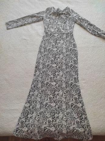 платье в пол, светло серо белого цвета, 42 размер