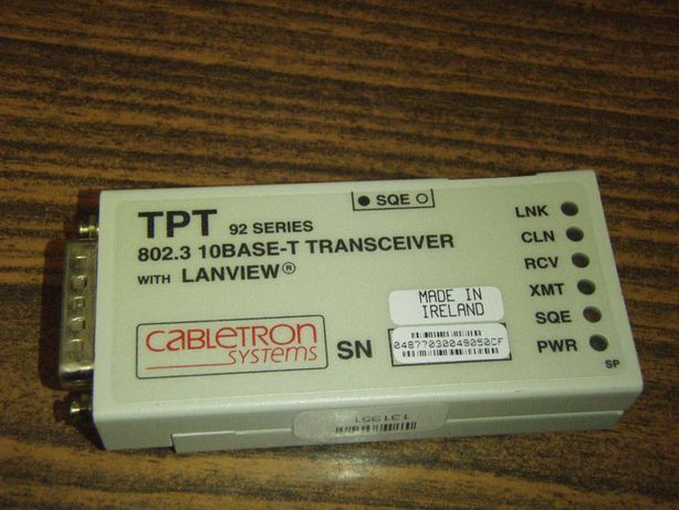 Cabletron TPT 92 series 802.3 10Base-T transceiver with Lanview, netes