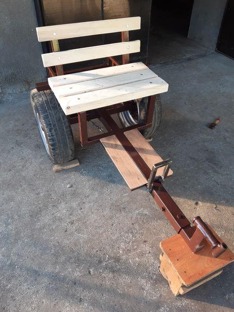 Căruț (remorchiță)motocultor cu sistem de frânare