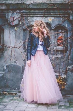 fustă tulle maxi roz prafuit deasa lunga pompoasa eleganta