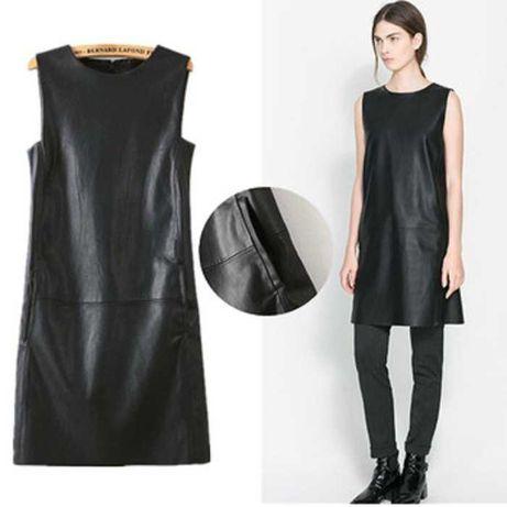 Кожаное платье, черный цвет, новое, на 40-42-44 размеры - 25,000 тенге