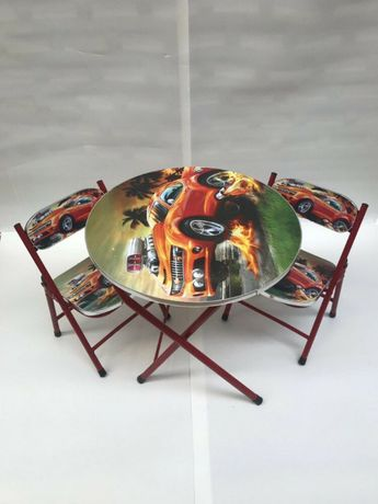 Masa cu doua scaune pliabile pentru copii,culoare rosie