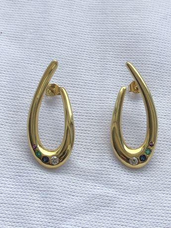 Cercei din aur cu zircon, safir, smarald si rubin cod 10050