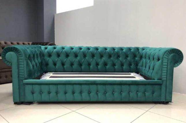 Продам диван честер 3ка и кресло изумрудный раскладноц честерфилд