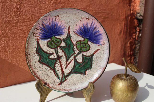 Farfurie ceramica de colectie FRANTA - cca 1950-1960, decorata manual