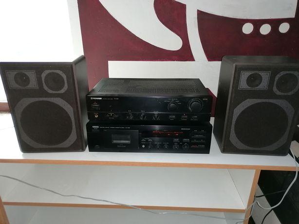 Sistem vintage deck, amplificator, boxe