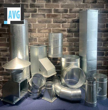 Воздуховоды, вентиляционные изделия из оцинкован, черн, нерж стали.