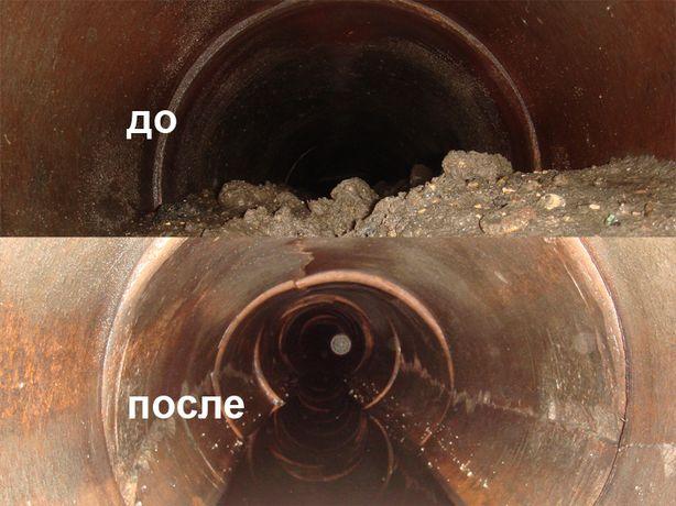 Прочистка канализации аппаратом крот, чистка труб, промывка канализаци