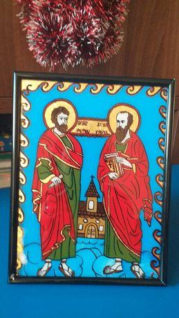 Icoană pictată pe sticlă-Sf. Petru și Pavel