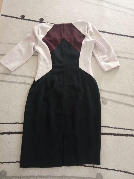 Черна, шарена, ленена рокля