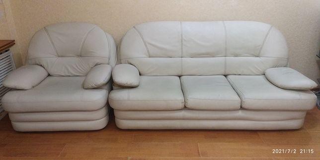 Диван + кресло (кожа)