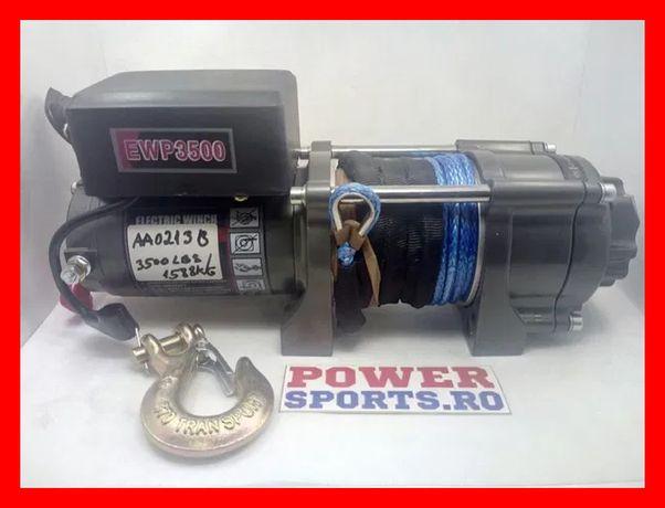 Troliu winch cabestan ATV 3500lbs / 1588 kg sufa sintetica plasma NOU