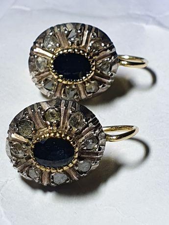 Cercei anturaj aur 18k cu safire si diamante naturale
