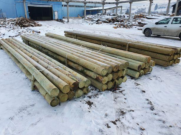 Stalpi pentru linii aeriene de cablu din lemn calibrat si tratat