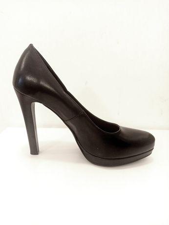 pantofi toc negri piele lasocki 39