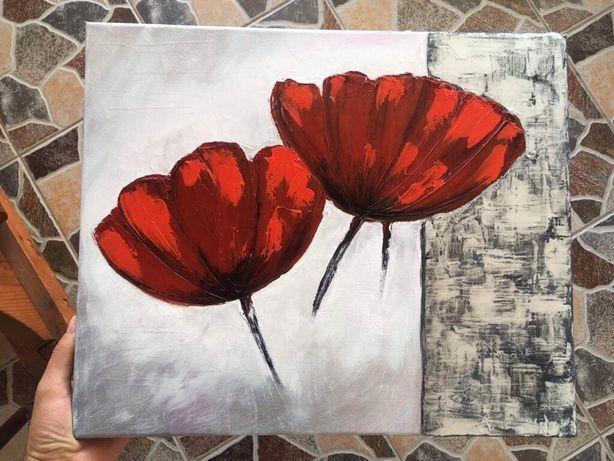 Tablou flori pânza , pictura flori in ulei
