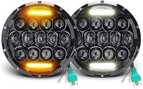 """Комплект Кръгли LED фарове 7"""" 70W H4 букса, къси, дълги, дневни и мига"""