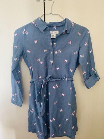 Rochie de blugi cu cordon si buzunare, 7-8 ani, H&M