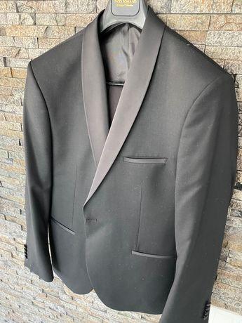 Втален мъжки костюм черен смокинг Класически модел с едно копче