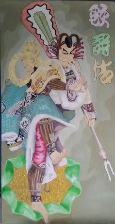 Vand tablou in ulei reprezentand un Samurai japonez