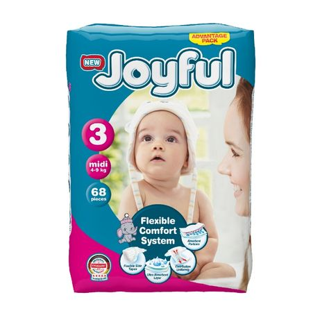 Scutece copii, Joyful, 68 bucati, Marime 3, Midi, 4-9 kg