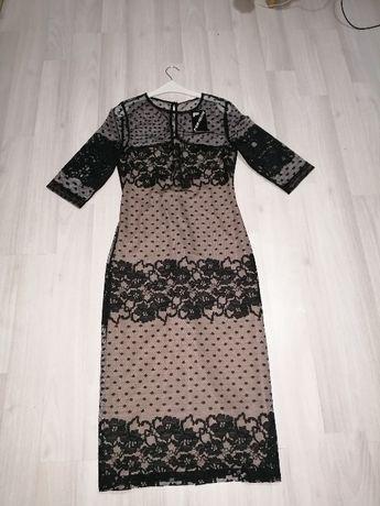 Дамска официална черно/кафява дантелена рокля