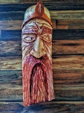 Дърворезба, лице на войн, ръчна изработка, 3D