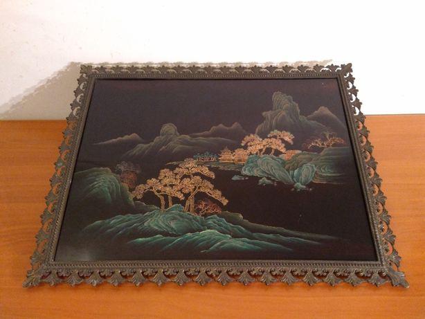 Tablou asiatic cu Rama bronz doré - Veche si deosebita piesa