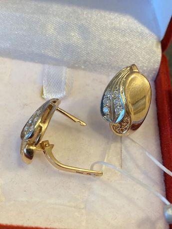 Золотые серьги с бриллиантами, серёжки