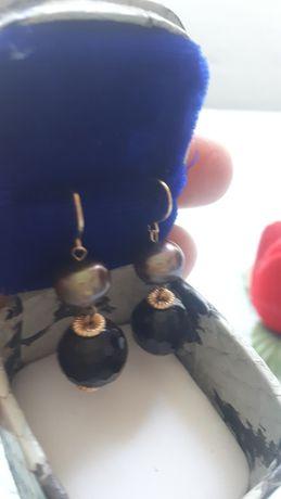 cercei aur cu perlă  și cuart fumuriu