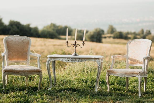 Set fotolii scaune vintage stil baroc lemn masiv cu brate si masuta