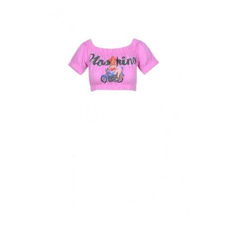 Top tricou dama Moschino Couture Pinup print, marime 38, roz, original