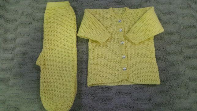 NOU!*Compleu 2 piese, grosut, tricotat, unisex, model drăguț!