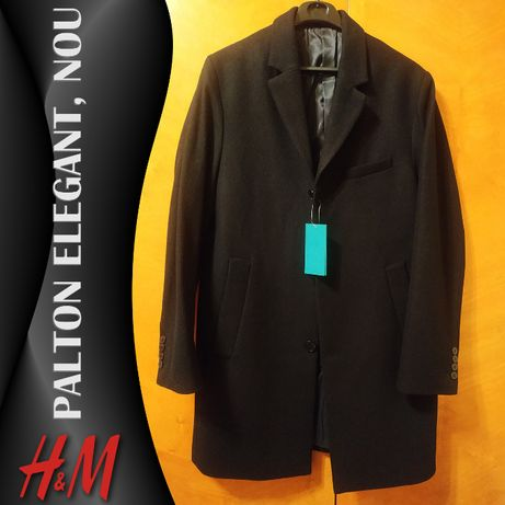 Palton H&M elegant, NOU, cu eticheta, amestec lana, marimea 50 (M)