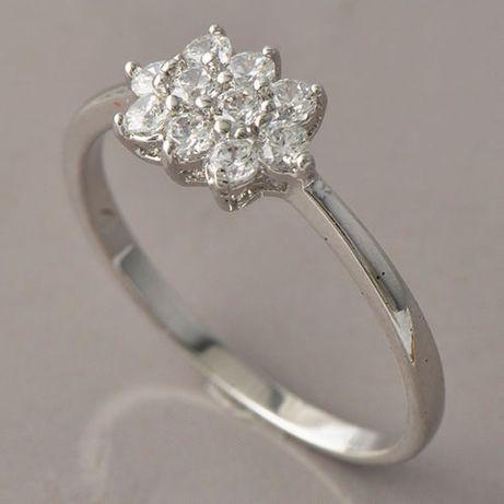 GR166,inel placat aur alb, 18k, ideal logodna, zircon alb