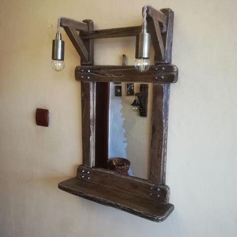 Арт огледало от стари дъбови греди