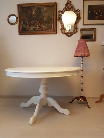 OFERTA Masa lemn rotunda extensibila , scaune lemn baroc , mobila alba