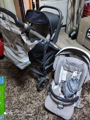 Vând cărucior Inglesina,utilizat,cadou 1 măsuță copii.
