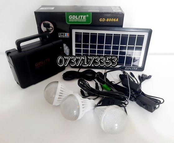 Kit Panou solar de iluminat GD-8006A,USB,3 bec LED NOU