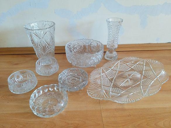 Стари кристални съдове, вази, купи , пепелници