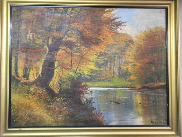 Стара картина маслени бои 106/84см