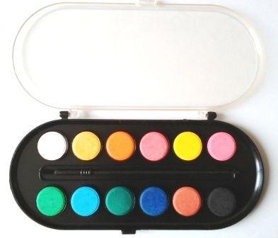Set acuarele 12 culori cu pensulă inclusă