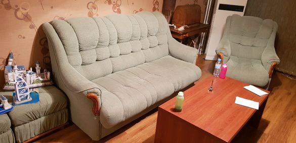 Разтегателен диван тройка + фотьойл