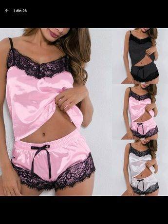 Pijamale dama cu dantela