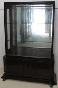 Vitrina Vintage din Lemn Masiv; Dulap cu 2 usi laterale; Bufet cu geam