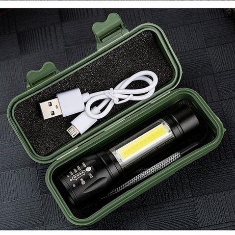 Мини фенер акумулаторен със зумм и СОВ лампа