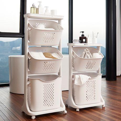 Корзина- этажерка для белья в  ванной комнате
