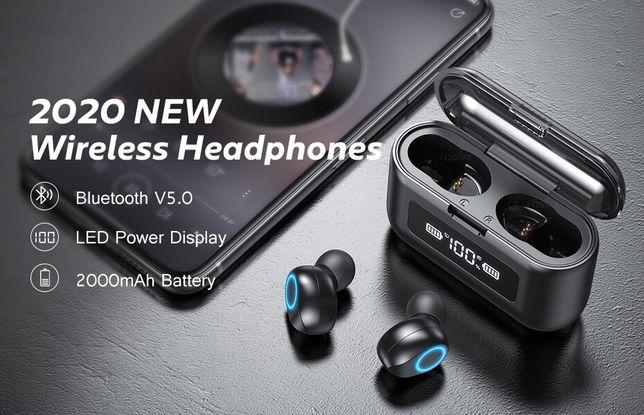 Casti Wireless Bluetooth, cu stand de incarcare 2000mAh, touch