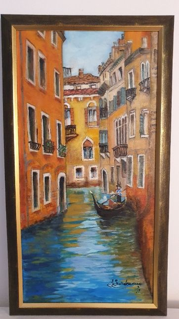 """PICTURA, TABLOU modern""""Canal venetian"""",nou, pictor roman consacrat"""