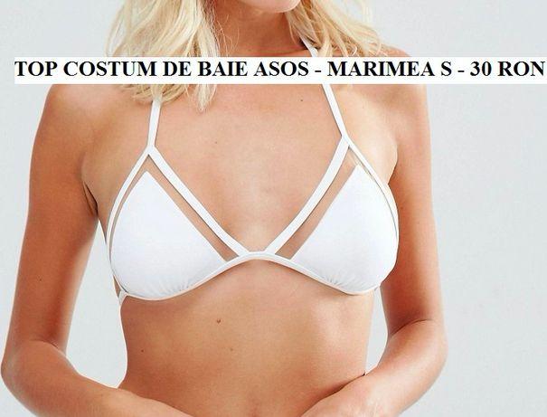Top sutien costum de baie ASOS alb triunghi - marimea S - 30 RON